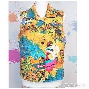 CHICO'S Fiesta Linen Vest Women's Size 1 (M-8)